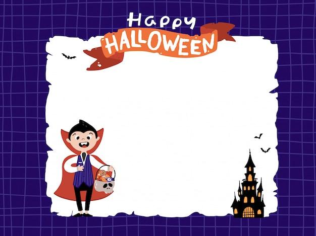 Vampiro de halloween con un castillo siniestro en plantilla