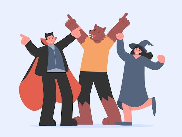 Vampiro, hombre lobo y bruja bailando con alegría y sentimiento de celebración en la fiesta de halloween. ilustración sobre dibujos animados de personajes de fantasía en estilo plano.