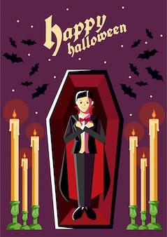 Vampiro de pie dentro del ataúd