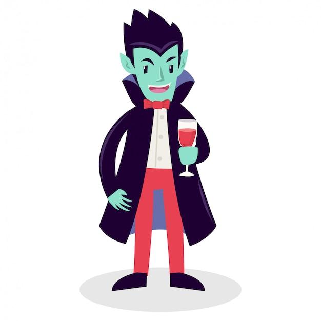 Un vampiro sosteniendo un vaso lleno de sangre.