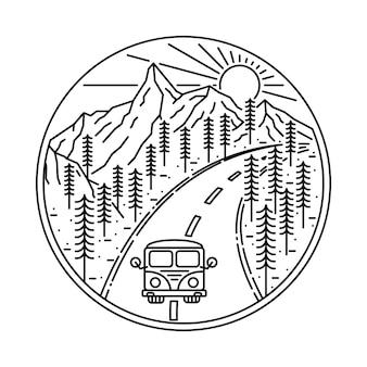 Van camping senderismo escalada montaña naturaleza ilustración
