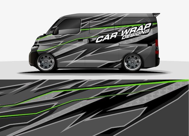 Van fondo gráfico. concepto de diseño de líneas modernas abstractas para envoltura de vinilo de gráficos de automóviles y vehículos
