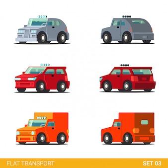 Van hatchback truck delivery car funny transport flat set