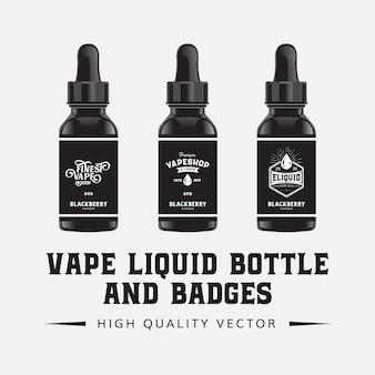 Vape e- plantilla de ilustración de sabor de botella líquida