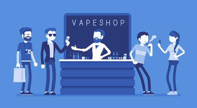 Vape tienda de negocios. grupo de hipsters urbanos en la tienda que vende productos de cigarrillos electrónicos, selección de líquidos electrónicos, compra, disfruta, vapea, respira nicotina. ilustración con personajes sin rostro