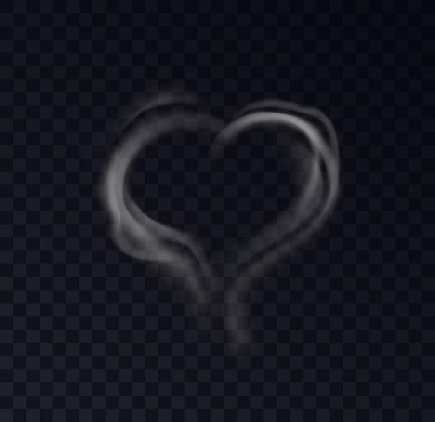 Vapor de humo de forma de corazón aislado sobre fondo negro transparente. efecto romántico del vapor blanco de fumar café o cigarrillos. ilustración vectorial 3d