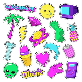 Vaporwave fashion funky elements con corazón, helado y planeta para pegatinas, insignias. vector, garabato