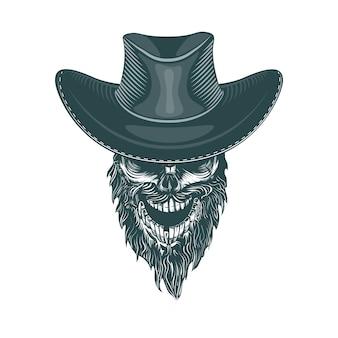 Vaquero barbudo en un sombrero