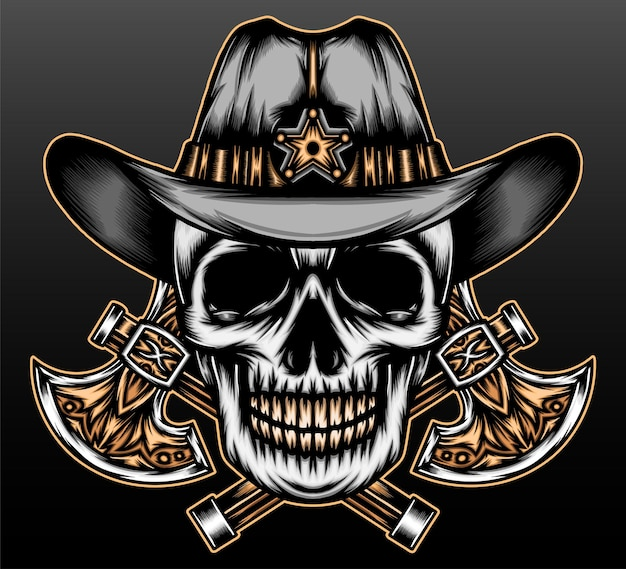 Vaquero de cráneo vintage aislado en negro