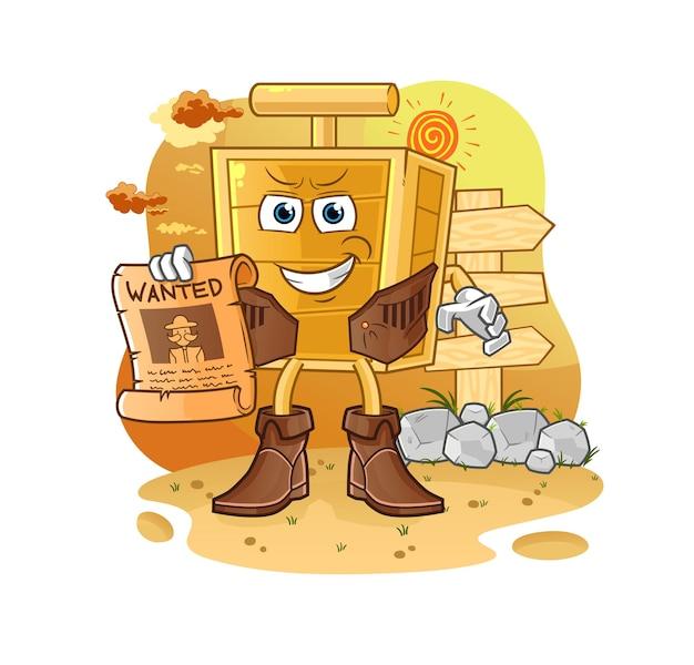 El vaquero detonador de dinamita con papel buscado. mascota de dibujos animados