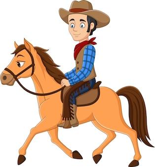 Vaquero de dibujos animados montado en un caballo