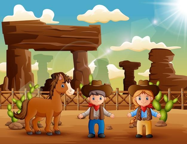 Vaquero de dibujos animados y vaquera con un caballo en el desierto