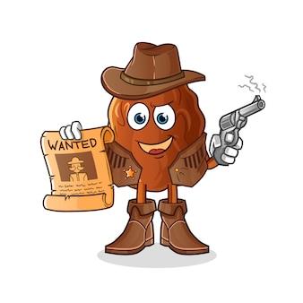 Vaquero de fruta de fecha con pistola y cartel querido ilustración