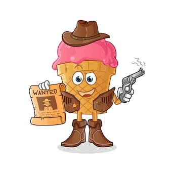 Vaquero de helado con pistola y personaje de ilustración de cartel buscado