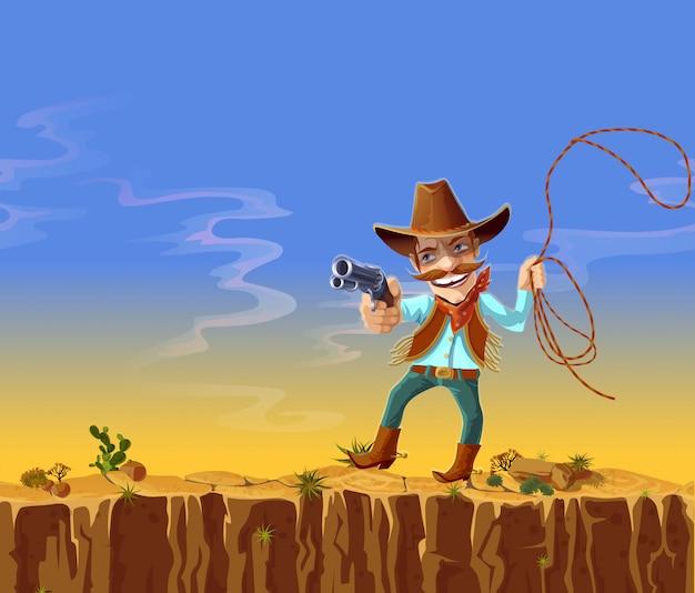 Vaquero en traje tradicional, jeans, sombrero, chaleco y botas, con pistola y cuerda