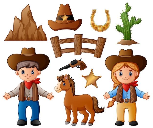 Vaquero y vaquera de dibujos animados con elementos del salvaje oeste