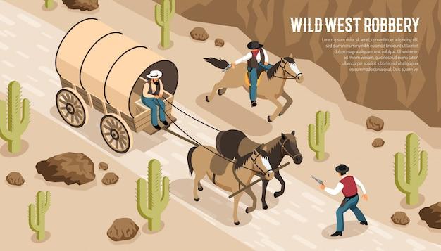 Vaqueros en carreta y a caballo durante el robo del salvaje oeste en la pradera horizontal isométrica