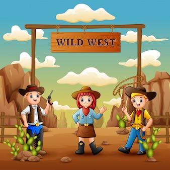 Vaqueros de dibujos animados y vaquera en el salvaje oeste