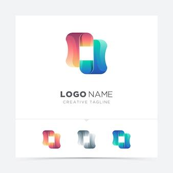 Variación abstracta colorida del logotipo de la forma cuadrada