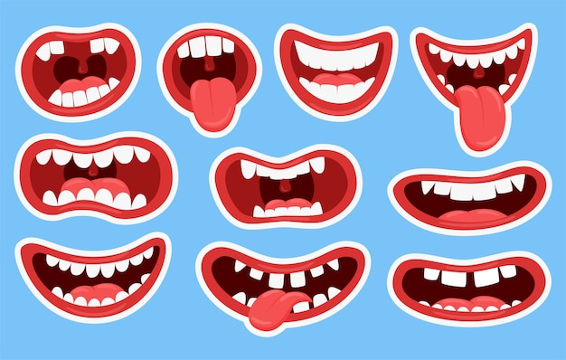 Variaciones de las bocas de los monstruos. bocas divertidas con dientes y lengua que sobresalen.