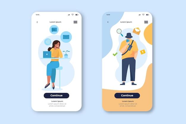 Varias aplicaciones para plantilla de teléfono móvil