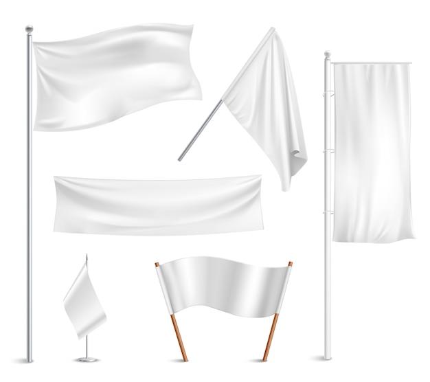 Varias banderas blancas y colección de pictogramas de banners