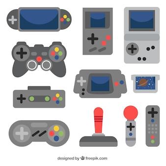 Varias consolas y mandos de control en diseño plano