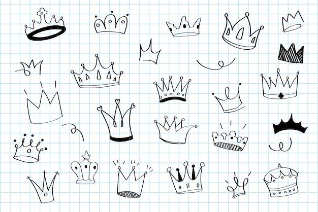 Varias coronas doodle ilustración vectorial