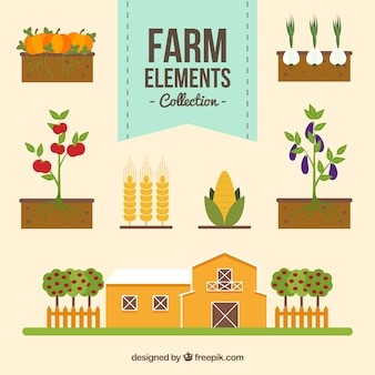 Varias cosas planas de granja