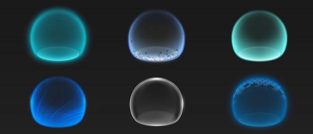 Varias esferas luminosas de energía