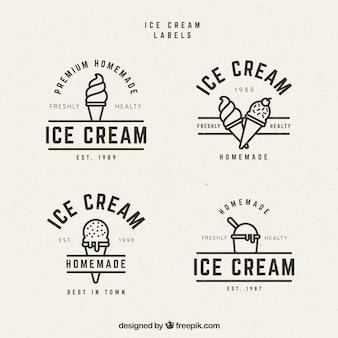 Varias etiquetas de helados en estilo vintage