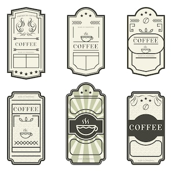 Varias etiquetas vintage café