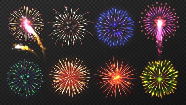 Varias explosiones de fuegos artificiales multicolores con chispas brillantes