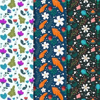 Varias flores y hojas de primavera de patrones sin fisuras