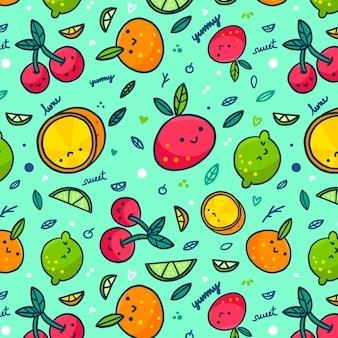 Varias frutas con caras de patrones sin fisuras