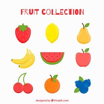 Varias frutas deliciosas en diseño plano