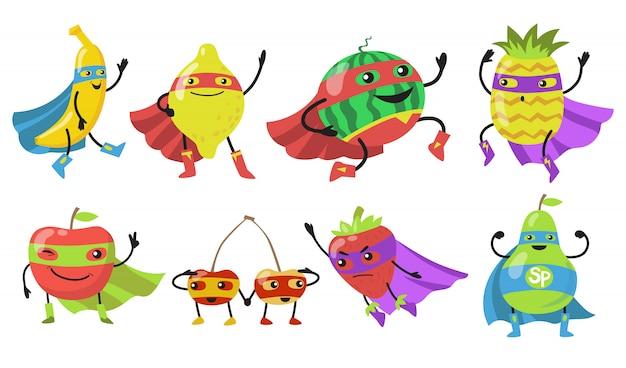 Varias frutas de superhéroe conjunto de iconos planos