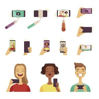 Varias herramientas y accesorios para auto fotos en el teléfono inteligente