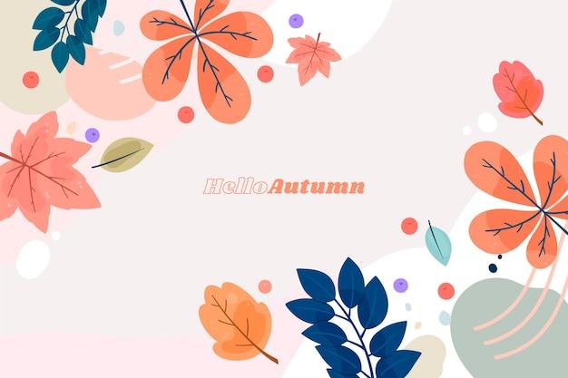 Varias hojas de otoño fondo dibujado a mano