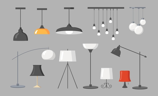 Varias lámparas colección de imágenes planas. dibujos animados de candelabros modernos, colgantes de luz y lámparas de techo con ilustraciones de bombillas aisladas. elementos de diseño de interiores y concepto de mobiliario.