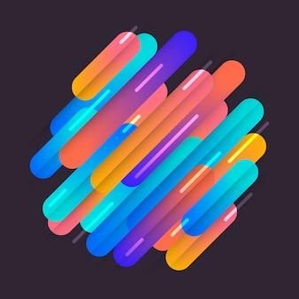 Varias líneas de formas redondeadas de colores en ritmo diagonal. ilustración de composición dinámica. elemento geométrico gráfico de movimiento.