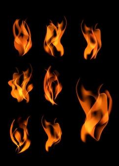 Varias llamas puestas