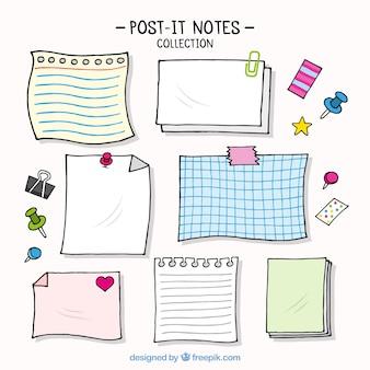 Varias notas de papel decorativas
