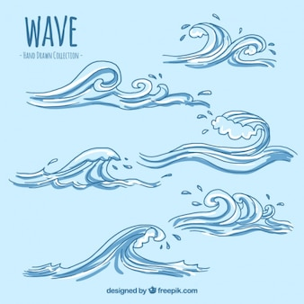 Varias olas decorativas dibujadas a mano