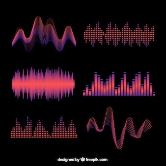 Varias ondas sonoras abstractas de colores