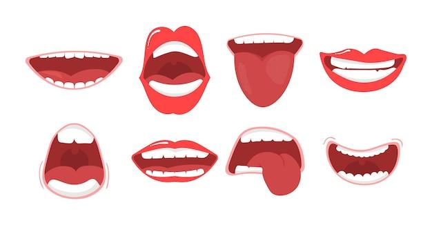 Varias opciones de boca abierta con labios, lengua y dientes ilustración