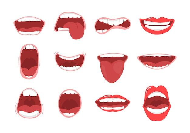 Varias opciones de boca abierta con labios, lengua y dientes