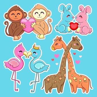 Varias parejas de animales y corazones