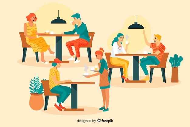 Varias personas sentadas en la cafetería.
