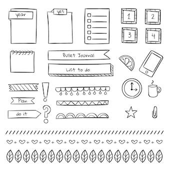 Varias plantillas de diario de viñetas de papelería